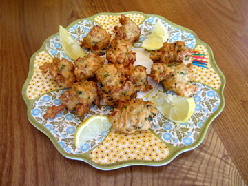 The clams in these fritters are high in iron.