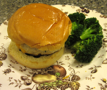 My nephew Michael's burger, complete with cheese and a bun.